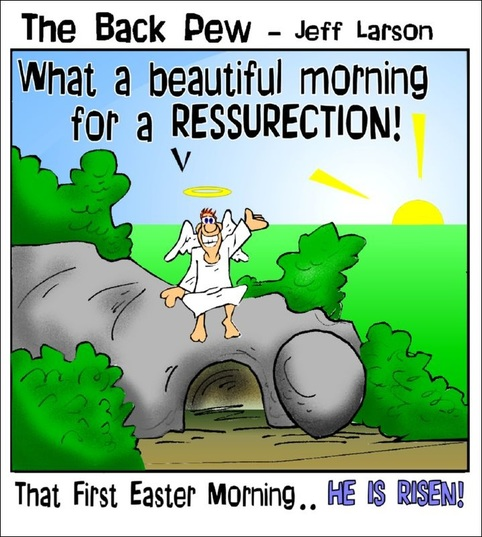 This Easter cartoon features an angel setting on the empty tomb  because JESUS IS RISEN