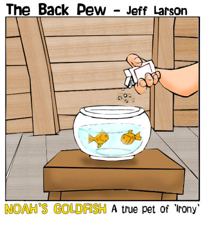 Noah cartoons of his two goldfish the pets of irony