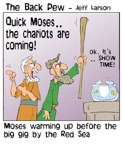 This bible cartoon features the story of Moses getting ready to part the Red Sea