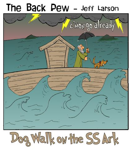 Noah cartoons on the Ark taking his dog for a walk