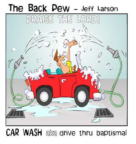 driving cartoons, christian cartoons, car wash baptism cartoons