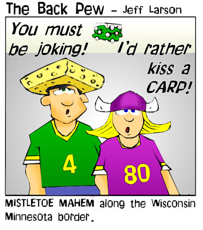 mistletoe, cartoons, packer and viking, Minnesota and Wisconsin