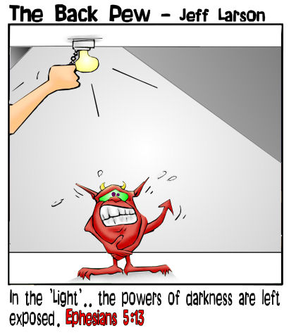 hell cartoons, devil cartoons, demon cartoons, darkness exposed in gods light cartoons, Ephesians 5:13
