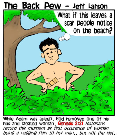 Garden of Eden cartoons where God creates woman from one of Adam's ribs in Genesis 2:21