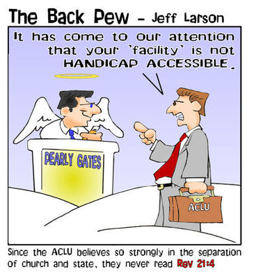 heaven cartoons, christian cartoons, pearly gates cartoons, angel cartoons, aclu in heaven cartoons, handicap accessible in heaven cartoons