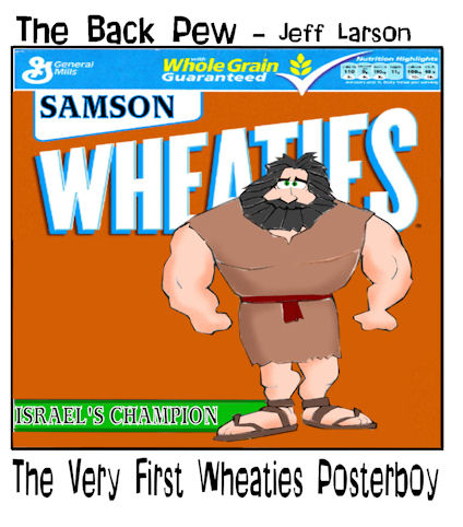 Judges, cartoons, Samson, Wheaties cover