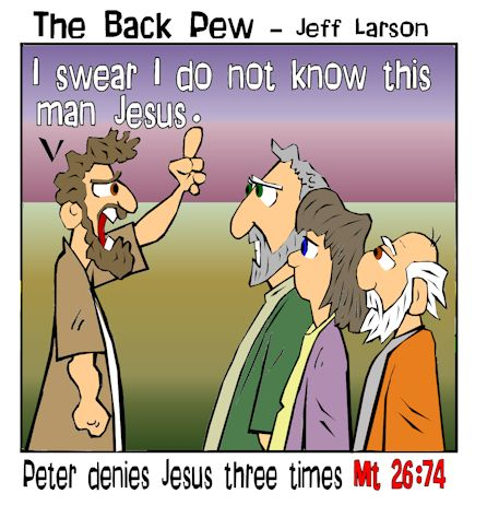 This gospel cartoon features Peter's denial of Jesus