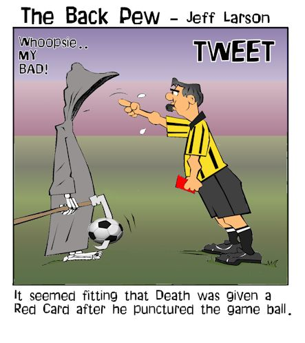 soccer cartoons, soccer ref cartoons, grim reaper soccer player cartoons