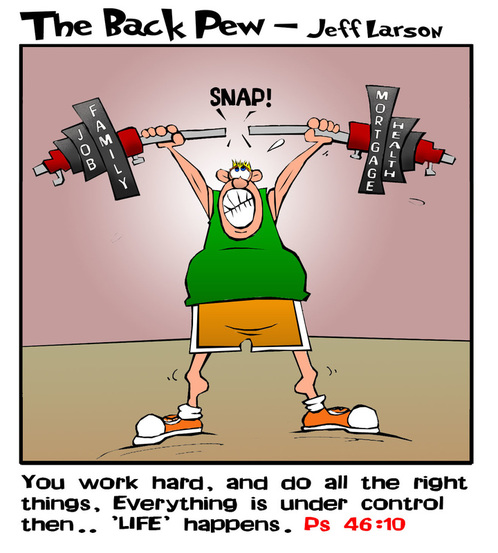 This christian cartoon illustrates life using a weightlifter and the truly unexpected