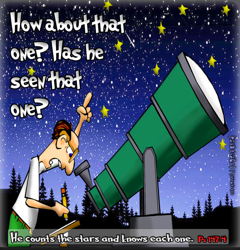 This christian cartoon features the vast creation of God viewed by an Astronomer
