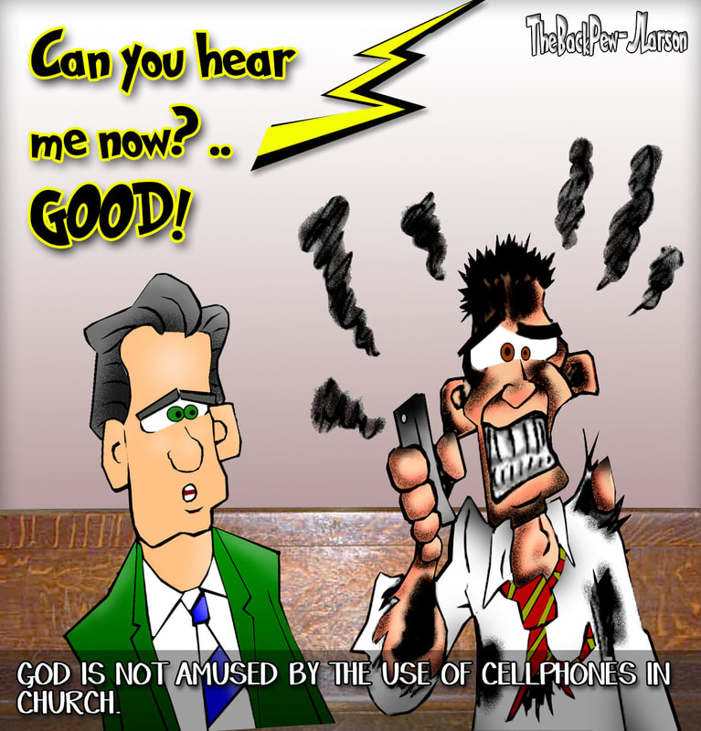 christian cartoons, cell phones in church cartoons, church cartoons