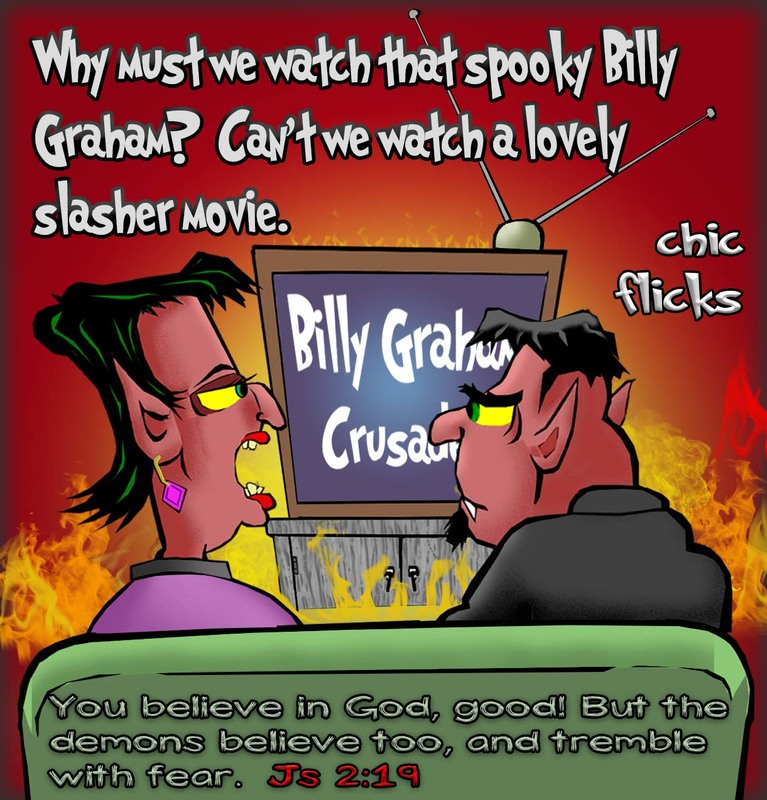 This christian cartoon features the bible truth it is not good enough just to believe in God