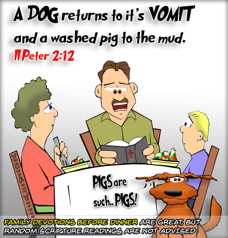 christian cartoons, dog cartoons, dog vomit cartoons, 2 peter 2:12