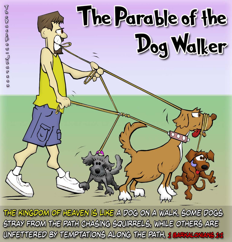 christian cartoons, dog cartoons, dog walker cartoons