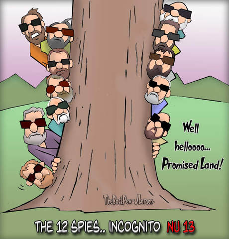 This Bible cartoon features the 12 spies of the Promised Land