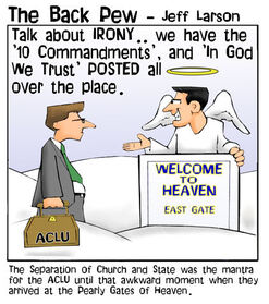 heaven cartoons, christian cartoons, pearly gates cartoons, angel cartoons, aclu in heaven cartoons