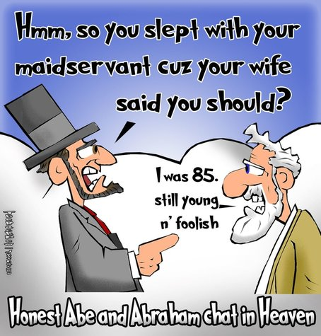 This christian cartoon features a scene in Heaven one day when Abraham Lincoln meets Abraham from our bibles