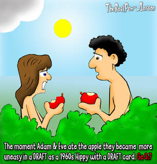 This bible cartoon  from Genesis features Adam and Eve eating .. apples