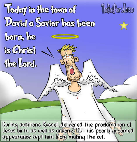 This Christmas cartoon features angel tryouts to proclaim the birth of Jesus