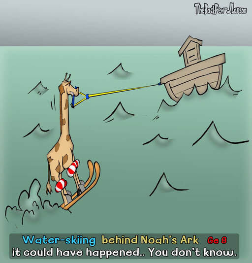 This Bible Cartoon features a giraffe water-skiing behind Noah's Ark Picture