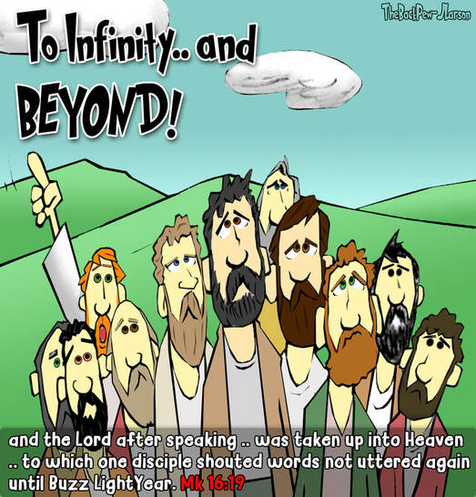 This Gospel Cartoon features the Ascension of Jesus Christ into Heaven