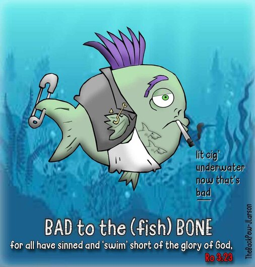 This Christian cartoon features the prodigal perch who was bad to the fish bonePicture