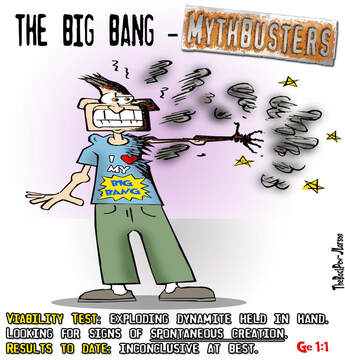 This Christian cartoon features Mythbuster testing of the Big Bang TheoryPicture