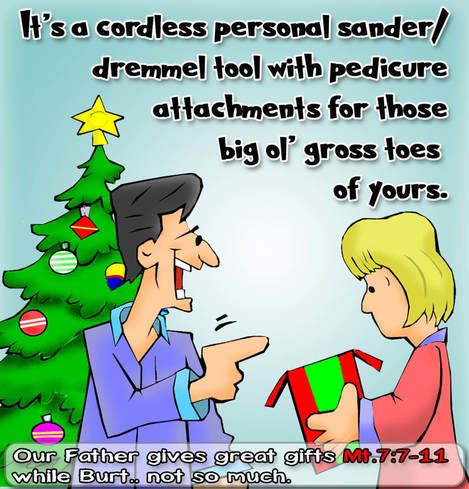 This Christmas Cartoon features a man buying his  wife an  insensitve gift