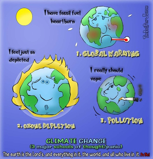 This Christian Cartoon features views on Climate ChangePicture