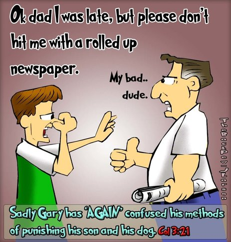This christian cartoon features a dad punishing his son with rolled up newspaper