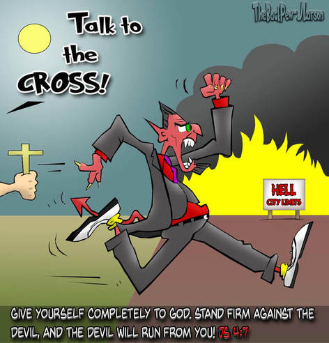This Christian cartoon features James 4:7 teaching us to stand firm with God and the Devil will flee.