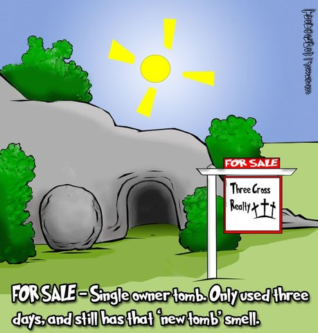 This Easter cartoon features the stone rolled away and Jesus tomb is empty