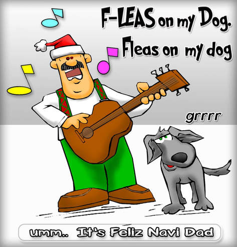 This Christmas Cartoon features a rendition of  Feliz Navi Dad sang as Fleas on my  Do