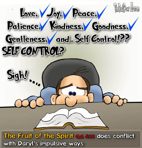 This Christian Cartoon features The Fruit of the Spirit being tested