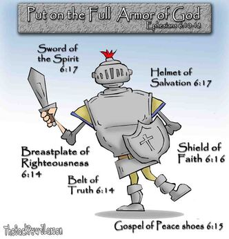 This christian cartoon features illustrates the Full Armor of God - one size fits all
