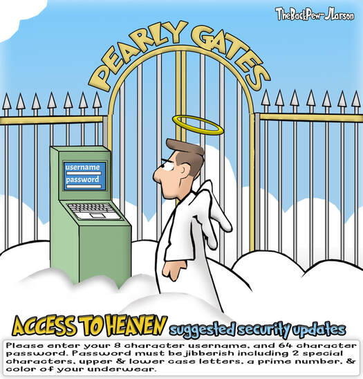 This Heaven Cartoon ponders WHAT IF a security code was required to enter HeavenPicture