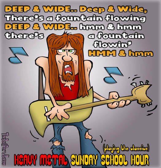 This Christian Cartoon features a Heavy Metal rendition of a Sunday School Worship song