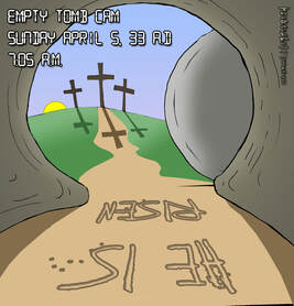 This christian cartoon features the empty tomb that first Easter morning