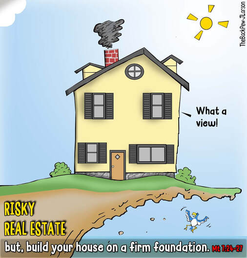 This Christian cartoon features a house not built on a firm foundationPicture
