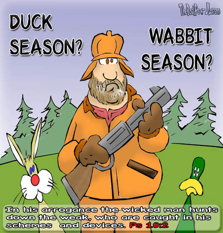 This Christian Cartoon features a Hunter in the tradition of Elmer Fudd