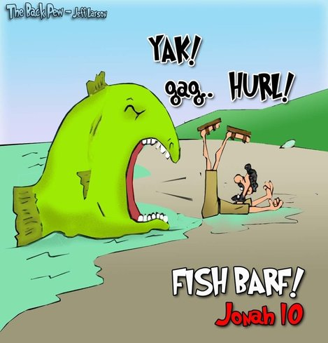 This bible cartoon features the story of Jonah and the whale
