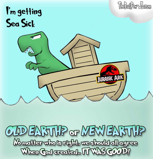 This Bible Cartoon features Noah and a Dinosaur in what I will call Jurassic Ark