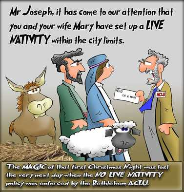 This Christmas cartoon features the first live nativity