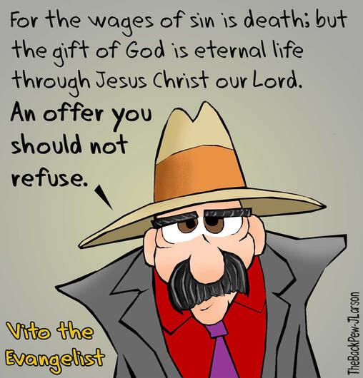 This Christian cartoon Vito the Evangelist sharing the gift of God, and offer you should not refuse