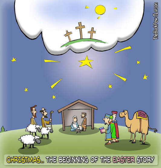This Christian cartoon shares that Christmas is the beginning of the Easter storyPicture