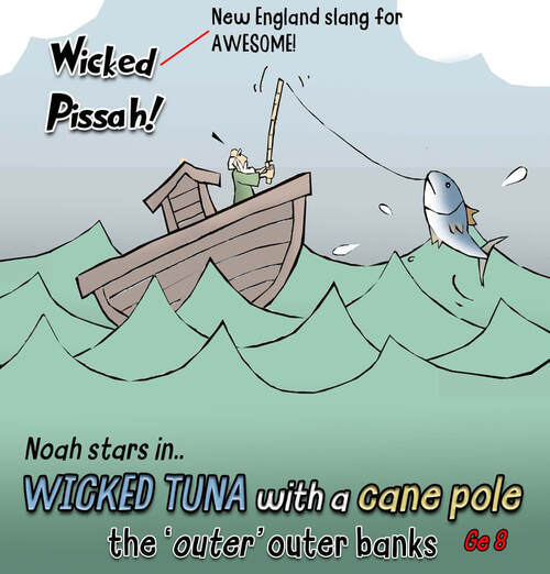 This Bible Cartoon features fishing for Tuna.., wicked tuna