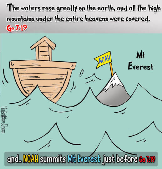 This Bible cartoon features Noah summit of Mt. EverestPicture