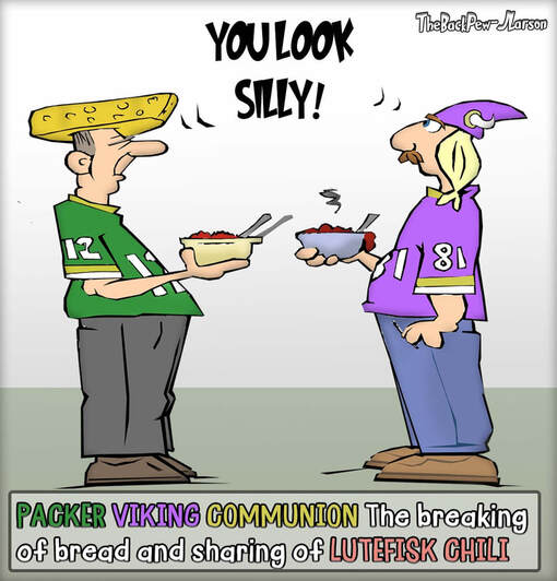 This Cartoon features a Packer and Vikings Communion