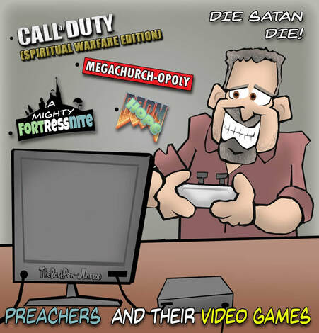 This Christian Cartoon features a Pastor who likes video games
