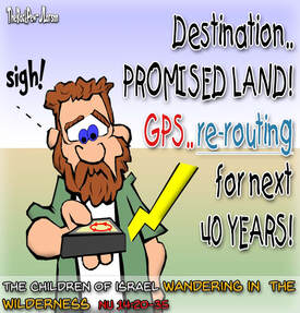 This Bible Cartoon features the Children of  Israel wandering in the Wilderness  with GPS Issues